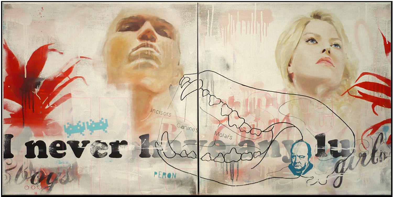 Girls & Boys - acrylique, bombe et huile sur toile